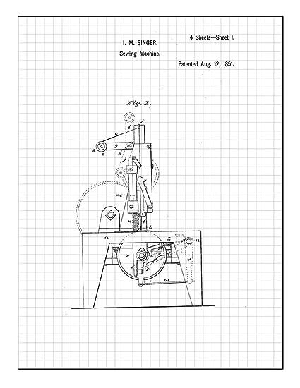 Amazon Com Sewing Machine Patent Print Art Poster Black Grid 24 X