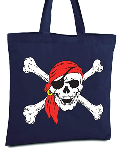 Skull and Crossbones Skeleton Pirate Cotton Shopper Tote Bag NEW