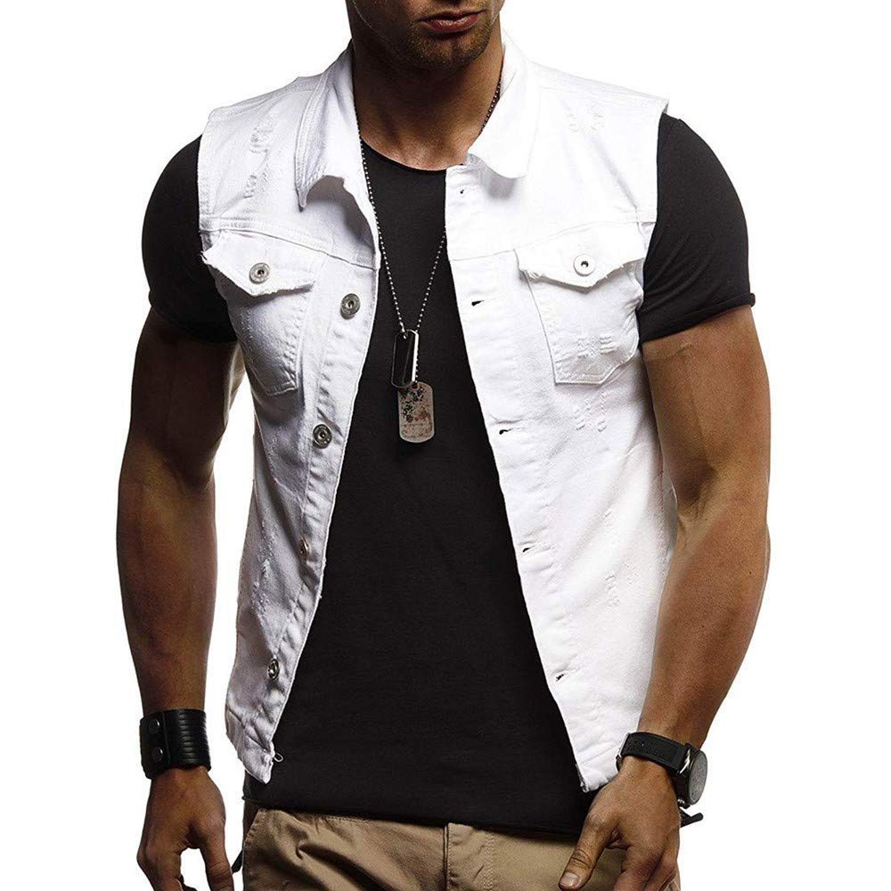 Men Denim Jacket,Vanvler Male Destroyed Waistcoat Blouse Autumn Winter Sleeveless Vest Top Fashion Clearance Sale Vanvler - Men Waistcoat