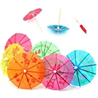 TRIXES Colourful Paper Cocktail Beach Party Umbrellas in Assorted Colours for Tropical Drink Presentation by