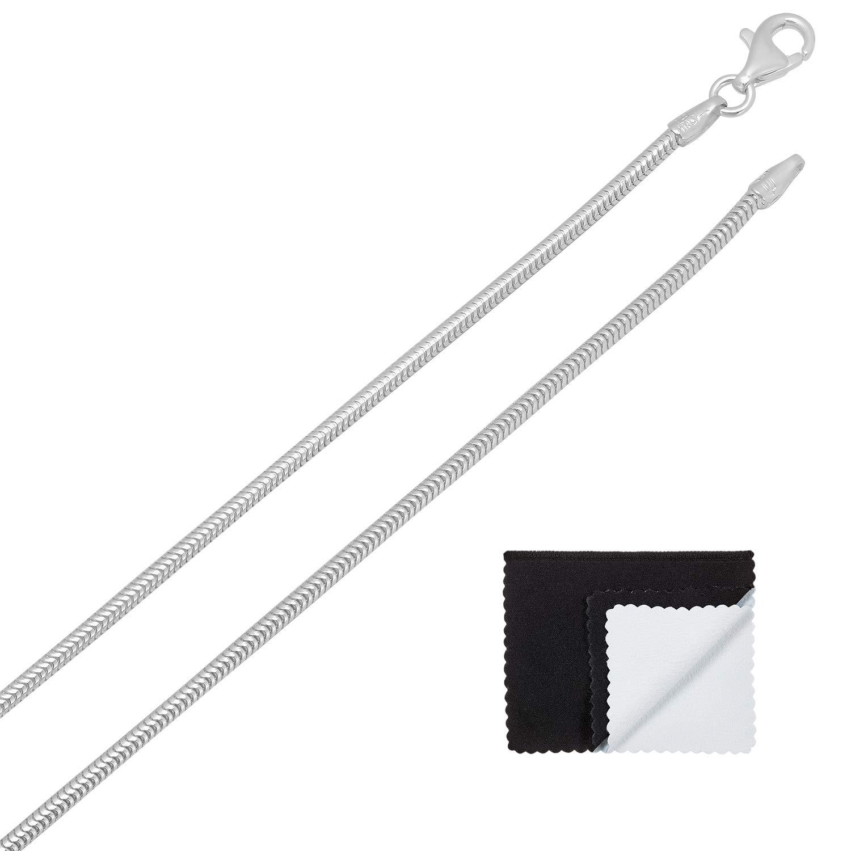 Bonus Cloth 925 Sterling Silver 1.5mm-2mm Nickel-Free Snake Italian Chain 161820222430