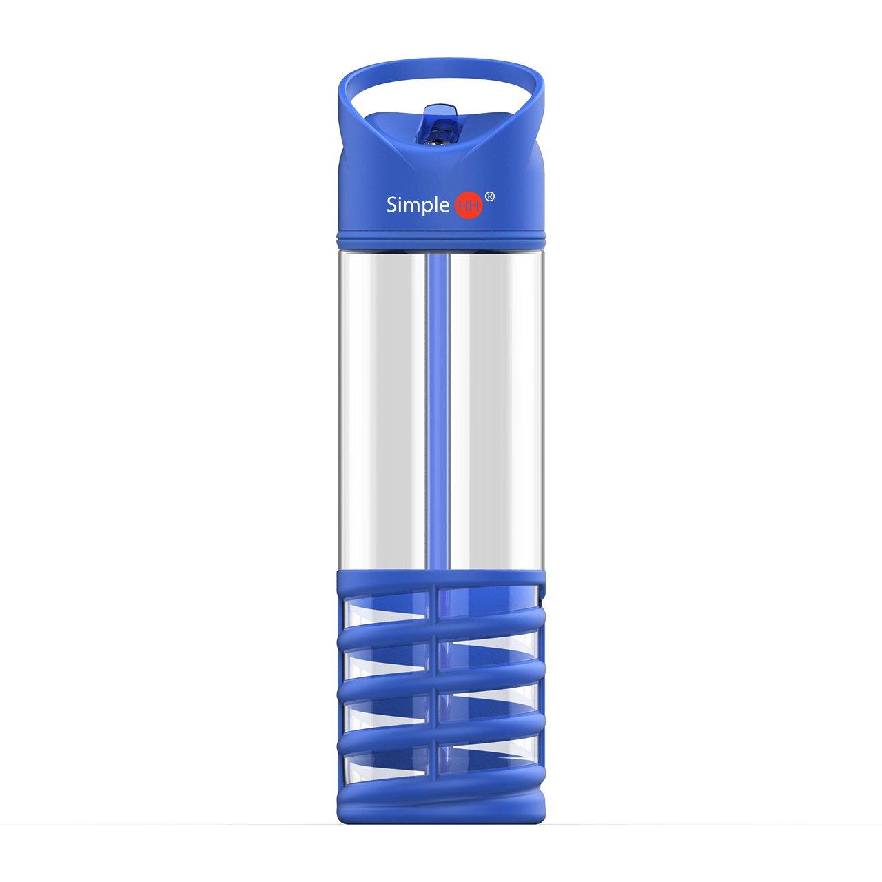 Simple HH スポーツウォーターボトル ストロー付きウォーターボトル BPAフリー マルチカラー  ブルー B07LFF7L99