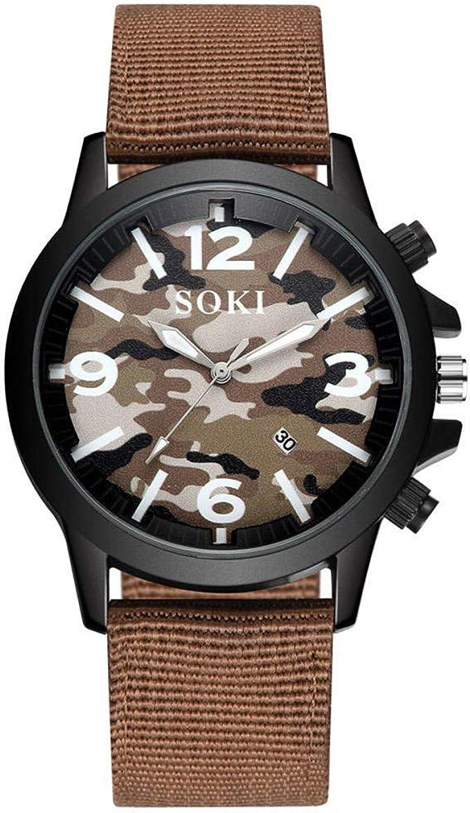 Relojes de Pulsera para Hombres Hombres Relojes Estuche de Acero Inoxidable Dial Cuarzo analógico Deporte Reloj de Pulsera Banda de Nylon Relojes Relojes para niños: Amazon.es: Relojes