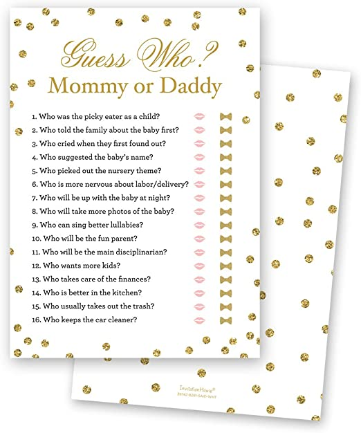 Amazon.com: Mommy or Daddy Baby Shower Guess Game - 24 count ...