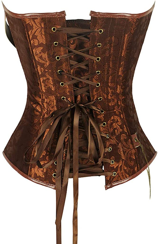 FraftO Body Shaper for Women Steampunk Gothic Lace Up Boned Overbust Bustier Corsets