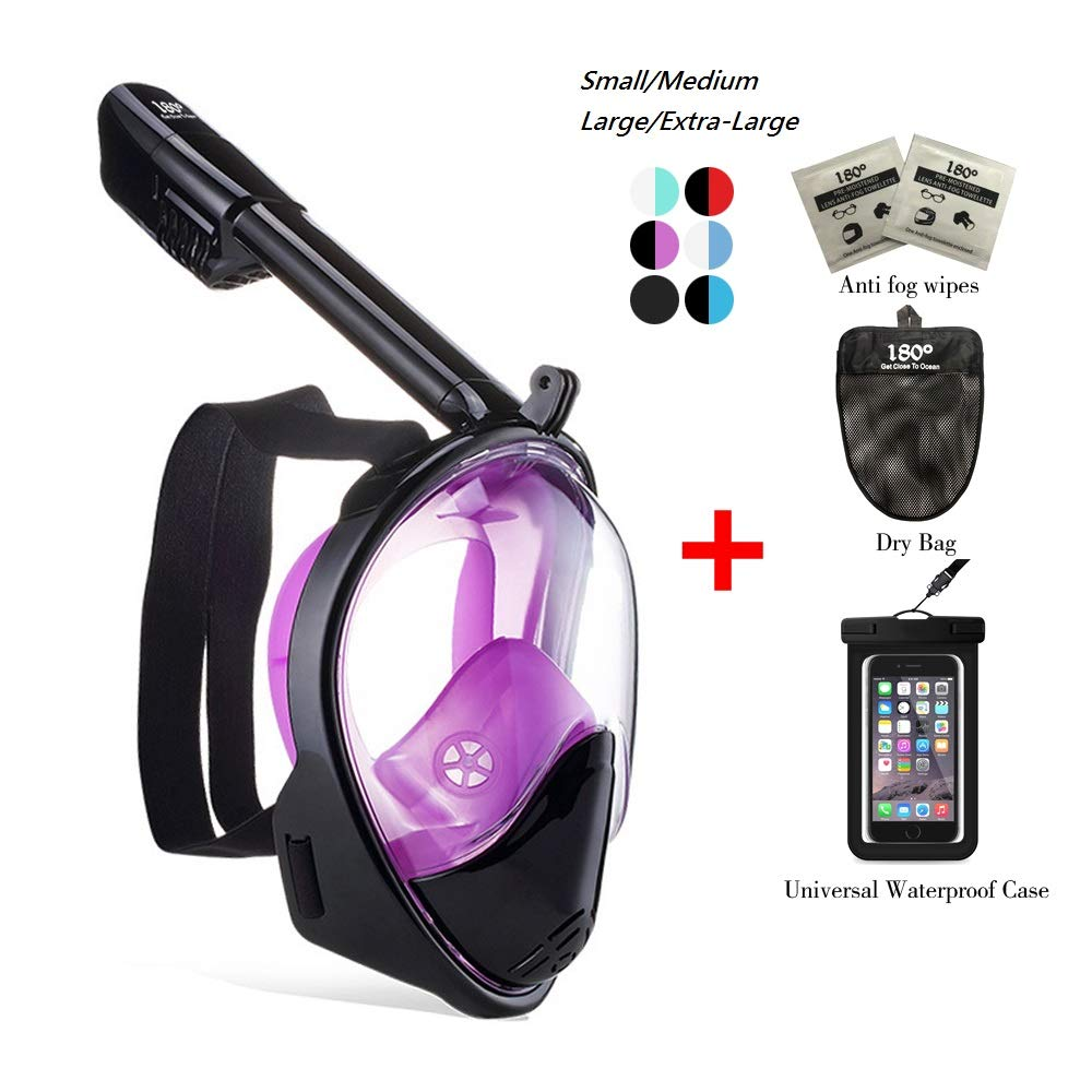 180° Snorkel Mask View for Adults and Youth. Full Face Free Breathing Design.[Free Bonuses] Cell Phone Universal Waterproof Case (Dry Bag) and Anti-Fog Wipes (Black/Purple, Small/Medium) by Unknown