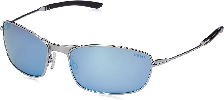 Revo Thin Shot RE 3090 03 BL Polarized Rectangular Sunglasses, Chrome Blue Water, 60 mm