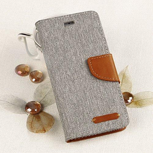 EGO® Luxury Etui Tipo Libro Carcasa con Función de Soporte para iPhone 5 / 5s Gris Flip case fermeture magnetique etui avec pochettes pour cartes Porte-billets, protection canvas