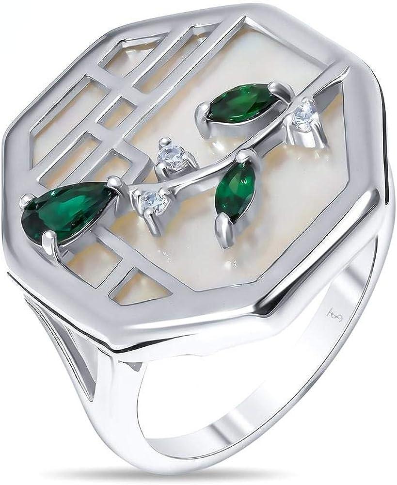 Mirkada - Anillo de plata para mujer con nácar y circonita, color verde/blanco, talla 56