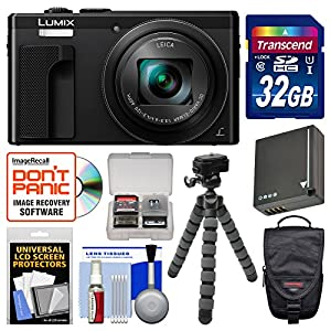 Panasonic Lumix DMC-ZS60 4K Wi-Fi Digital Camera with 32GB Card + Case + Battery + Flex Tripod + Kit