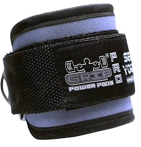 (Grip Power Pads Best Ankle Straps for Cable Machines Double D-Ring Adjustable Neoprene Premium Cuffs to Enhance Legs, Abs & Glutes for Men & Women (Grey, Single))