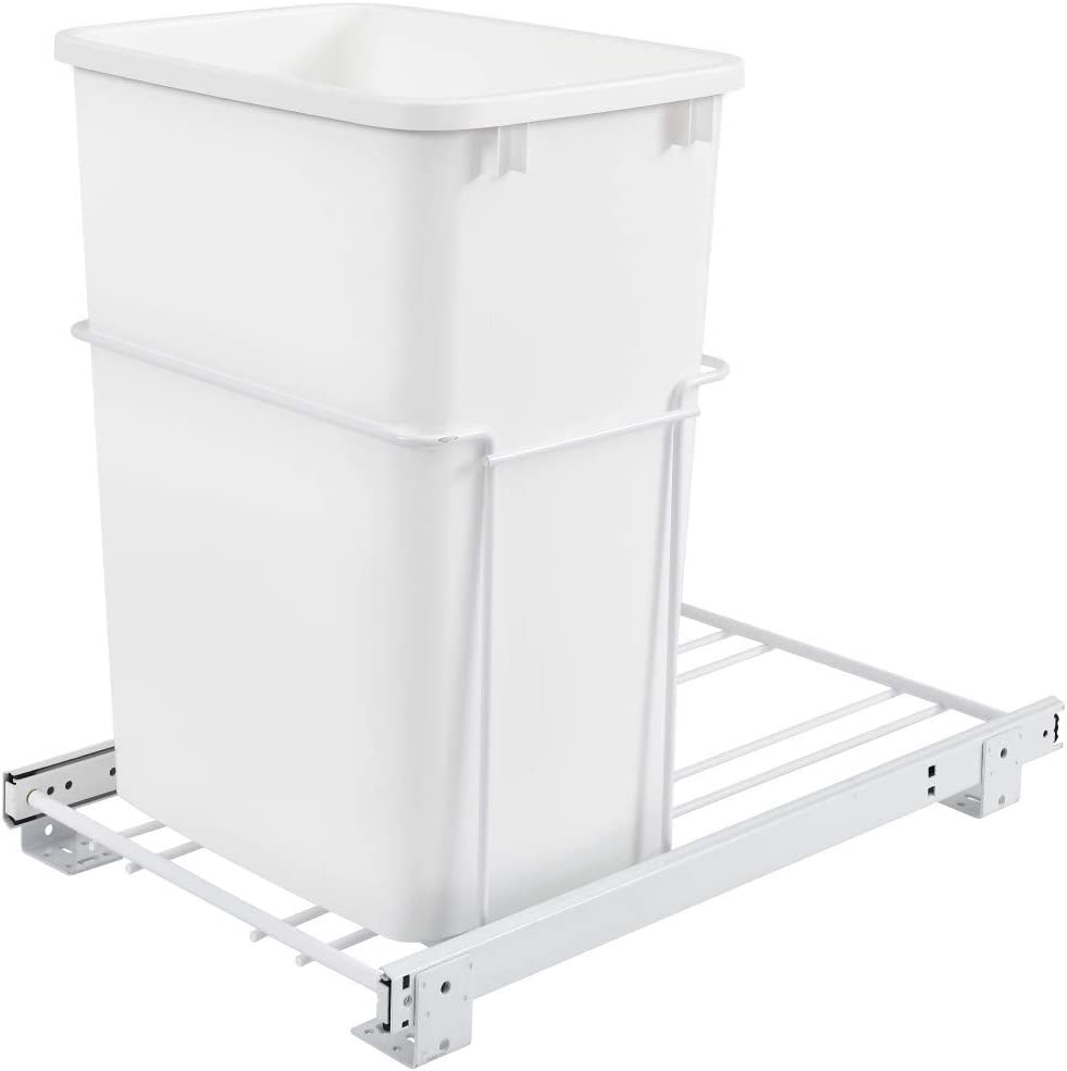 B00097A10S Rev-A-Shelf RV-18PB-1 Single 35 Quart Kitchen Base Cabinet Pull Out Waste Container, White 61lFGW36-5L.SL1500_