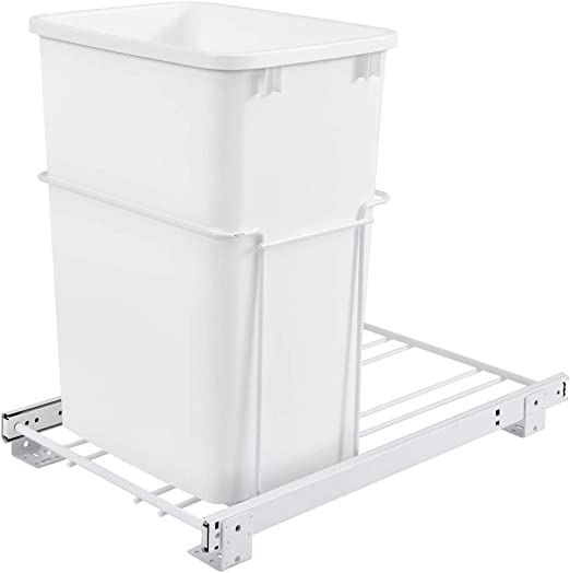 Rev-A-Shelf RV-18PB-2 S-Double 35 Quart Pull-Out White Waste Containers with Full-Extension Slides