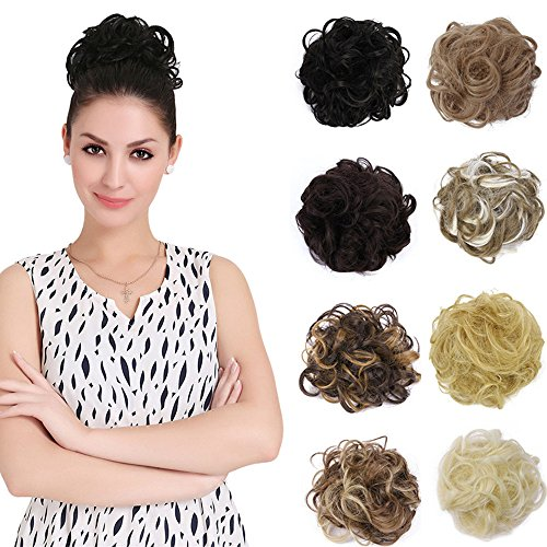 HI GIRL Ladies Hair Bun Chignon Hairpiece Scrunchie Donut Synthetic Hair Messy Wave Short - Hair Glasses Short