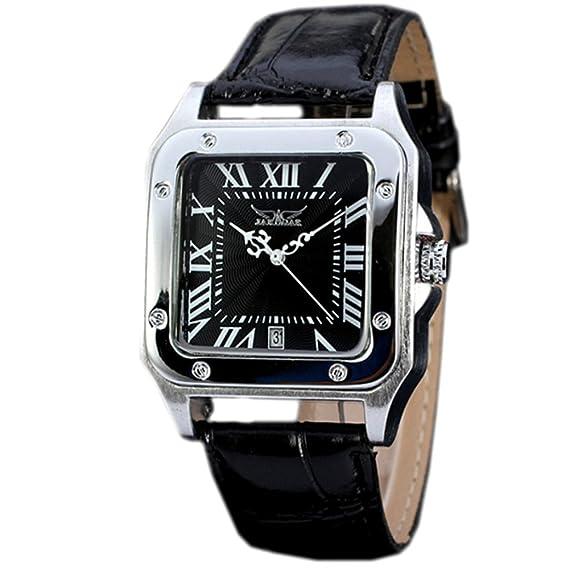 Reloj brazalete para hombre de GuTe; pantalla analógica, automático, de forma cuadrada, esfera negra y correa de piel sintética: Amazon.es: Relojes