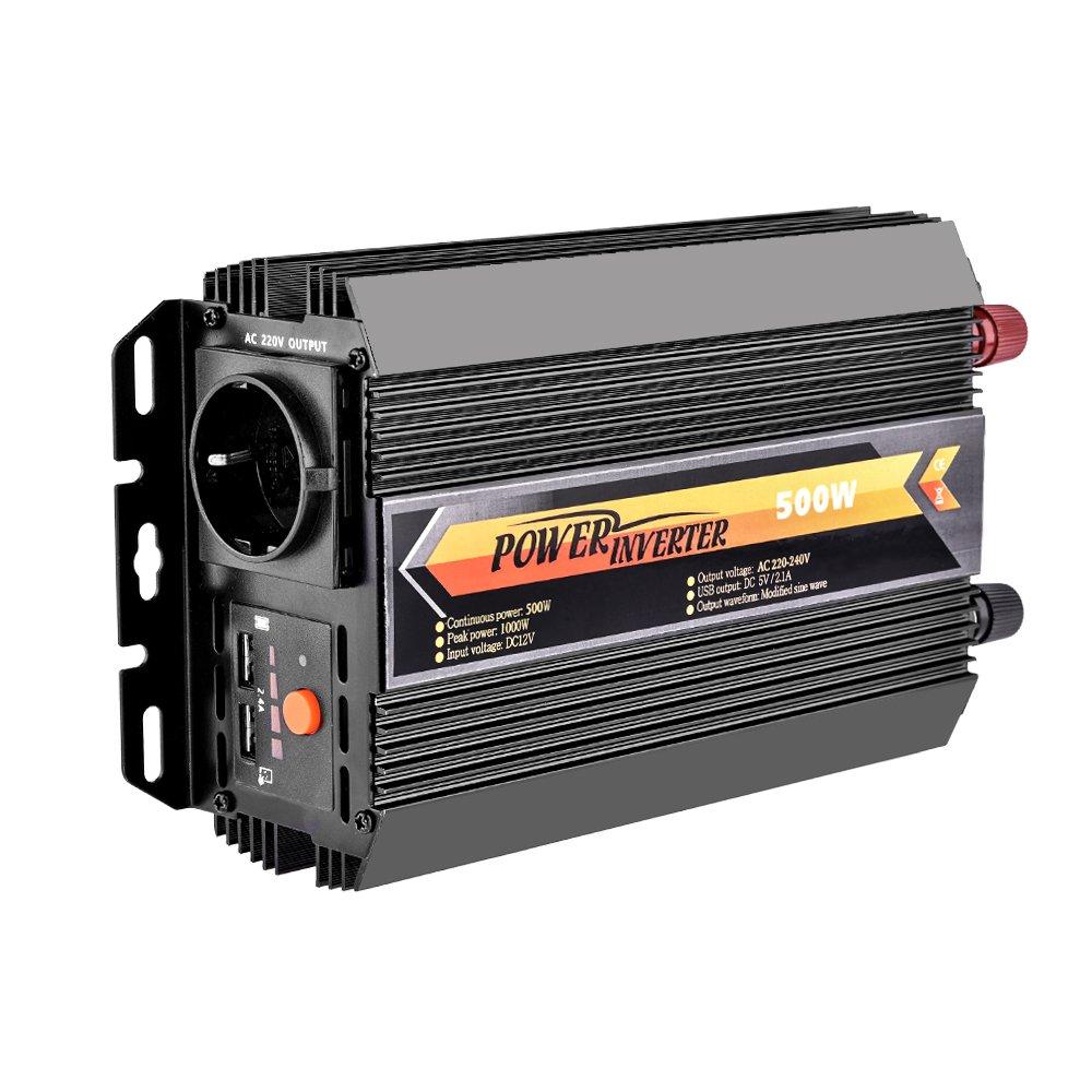 WZTO Spannungswandler 600W Wechselrichter 12V AC 220V-240V 2 USB-Anschl/üsse mit Auto Zigarettenanz/ünder Stecker und Autobatterie Clips Schwarz