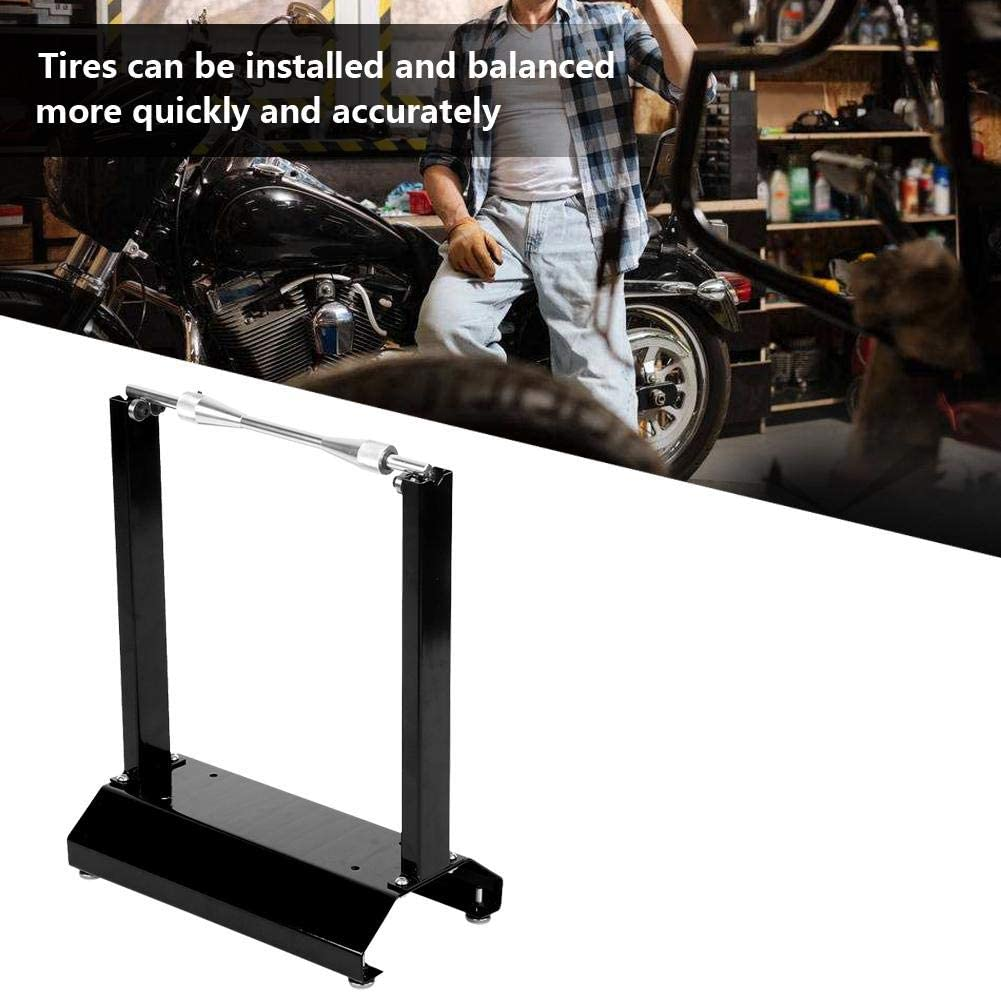 Qiilu Motorcycle Wheel Balancer Universal Aluminium Motorcycle Wheel Balancer Kickstand Balancing Workshop Stand Maintenance Rack Black Black