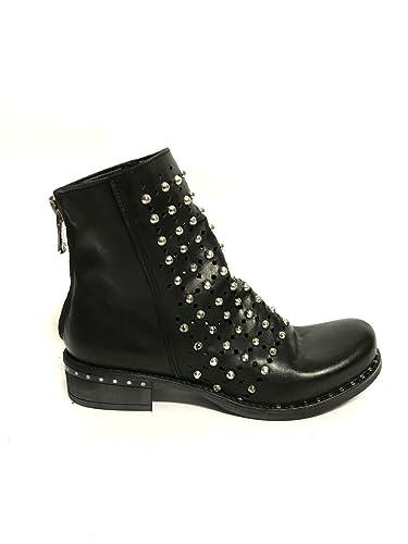 Schwarzen Shoes Niedrigen Echtem Zeta In Leder Stiefel Frau 1uF35KTJlc