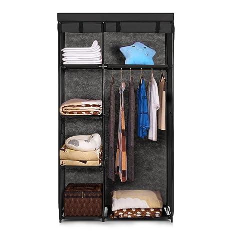 Amazon.com: IKAYAA Portable Fabric Closet Cabinet Roll Up Clothing ...