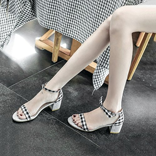 High With Roman Elegant 39 Bowknot Ladies Sandals Toe Black Shoes Heels Rough Shoes Stripes Size Color Exposed Summer Bpv5xBqnw