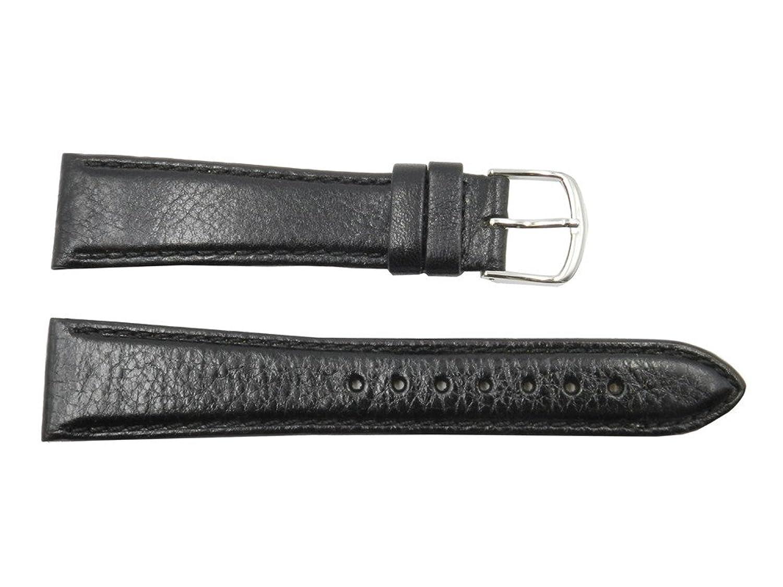 18 mm Black Genuine Vegetable Leather Textured Watch Band  B073QZTTD9