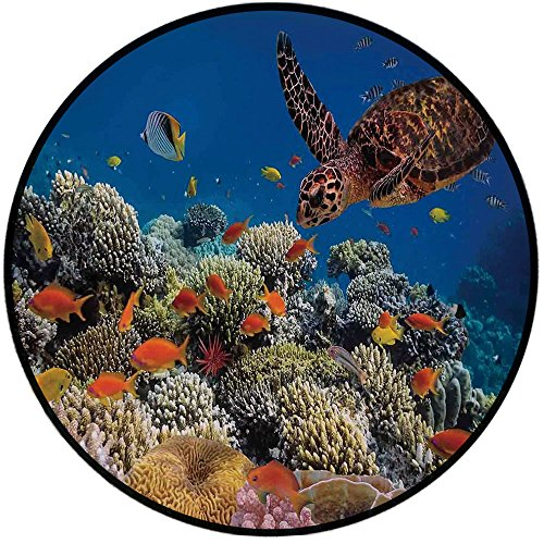 Printing Round Rug,Ocean,Fishes Old Turtle Hawksbill Floats Under Water Coral Reefs Dahab Red Sea Mat Non-Slip Soft Entrance Mat Door Floor Rug Area Rug For Chair Living Room,Blue Orange and Brown