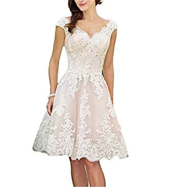 Fishlove Rustic Lace Bridal Gowns Short Knee Length Wedding Dresses With Cap Sleeves