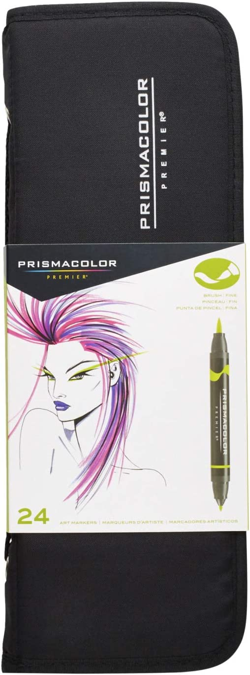 Prismacolor 1776353 Premier Double-Ended Art Markers, Fine and Brush Tip, 24-Count with Carrying Case
