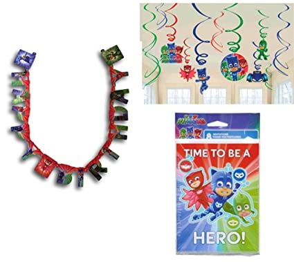 Birthday Kids Fun Party Supply Decorations PJ Masks Hanging Swirl 12ct Invitations