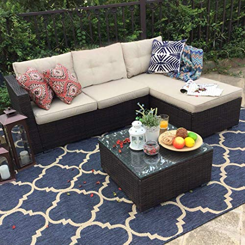PHI VILLA Outdoor Rattan Sectional Sofa- Patio Wicker Furniture Set (3-Piece, Beige) ()