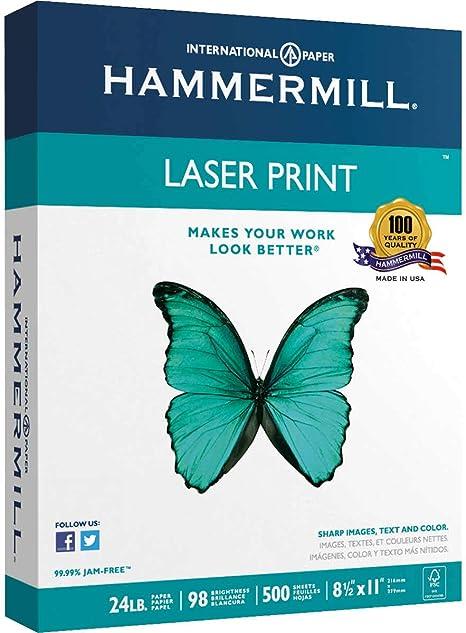 Hammermill Laser Print Paper 98 Brightness 500 Sheets 8-1//2 x 11 HAM104604