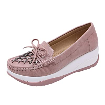 YiYLunneo Women's Muffin Shoes Wedge Platform Loafers Casual Comfort Thick Bottom Shoes Lazy Simple Slip-On Sneakers: Clothing