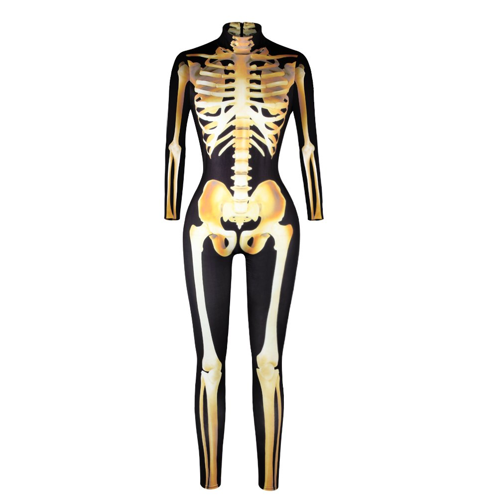 JJEUWE Women's Skeleton Halloween Bodysuit Costume Stretch Skinny Catsuit Jumpsuit