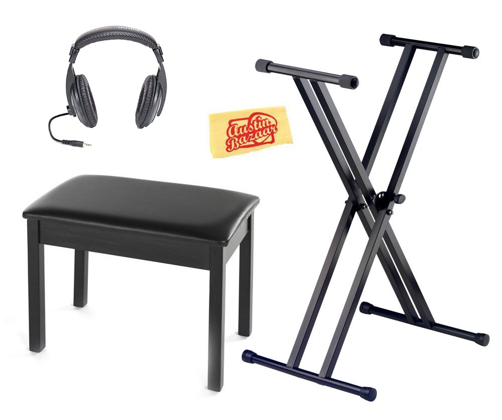 Yamaha BB1 Padded Wooden Piano Bench Bundle with Gearlux Keyboard Stand, Headphones, and Austin Bazaar Polishing Cloth - Black