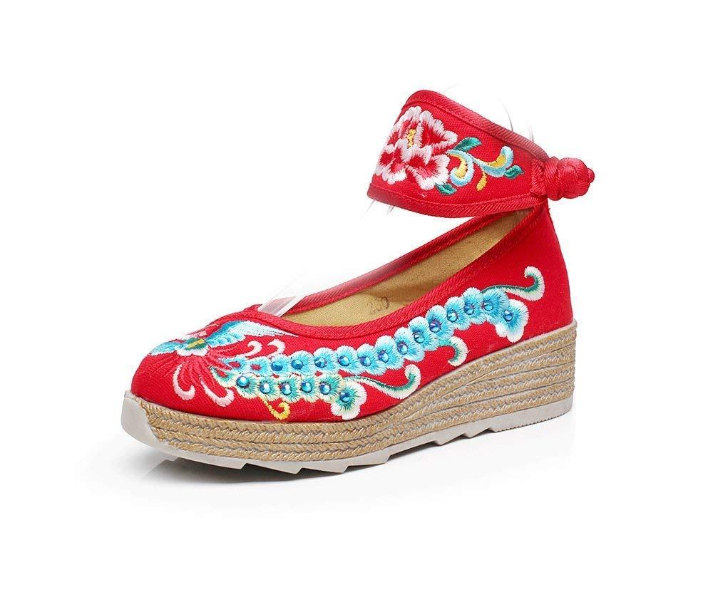 Willsego Bestickte Schuhe Leinen Sehnensohle Sehnensohle Sehnensohle Ethno-Stil Frauenschuhe Mode bequem lässig rot (Farbe   - Größe   -) e22956