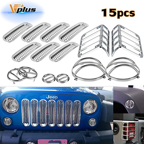 (15pcs)Chrome Headlight Guard Covers & Tail Light Mounting Brackets & Side Fender Front Turn signal protectors & Front Grille Insert for Jeep Wrangler JK TJ 2007-2016 (Front Fender Protectors)