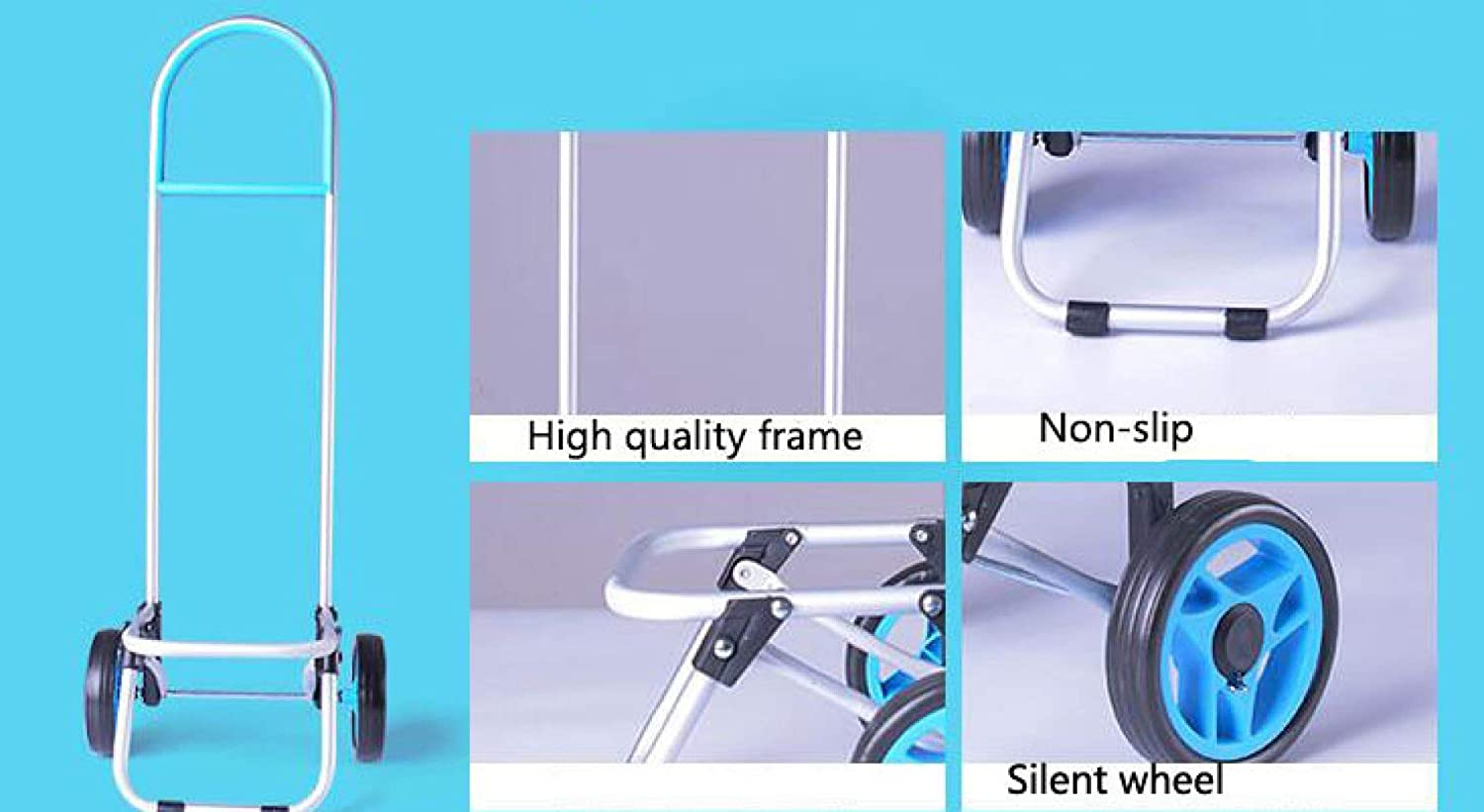Trolley Lightweight Shopping Steel Tube Frame Large Capacity Foldable,Blue