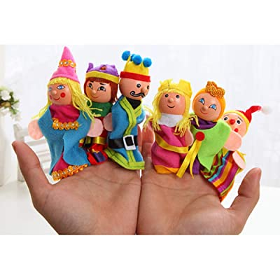 Alician 6Pcs/Set Cartoon Doll Finger Puppet Puzzle Toy for Castle Story Telling Child Toys: Toys & Games