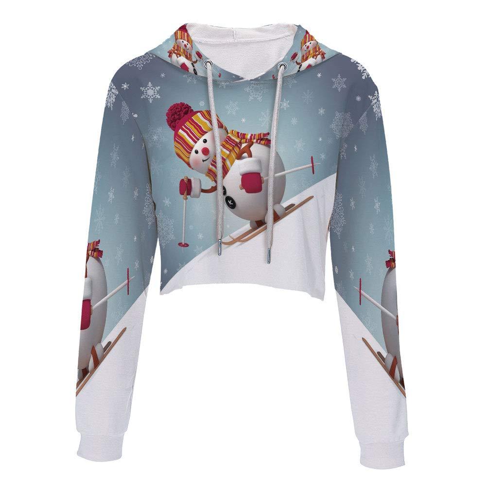 Sweatshirt Women 3D Pullover Sweatshirts S//M MulticolorSkiing Snowman in 3D Sty