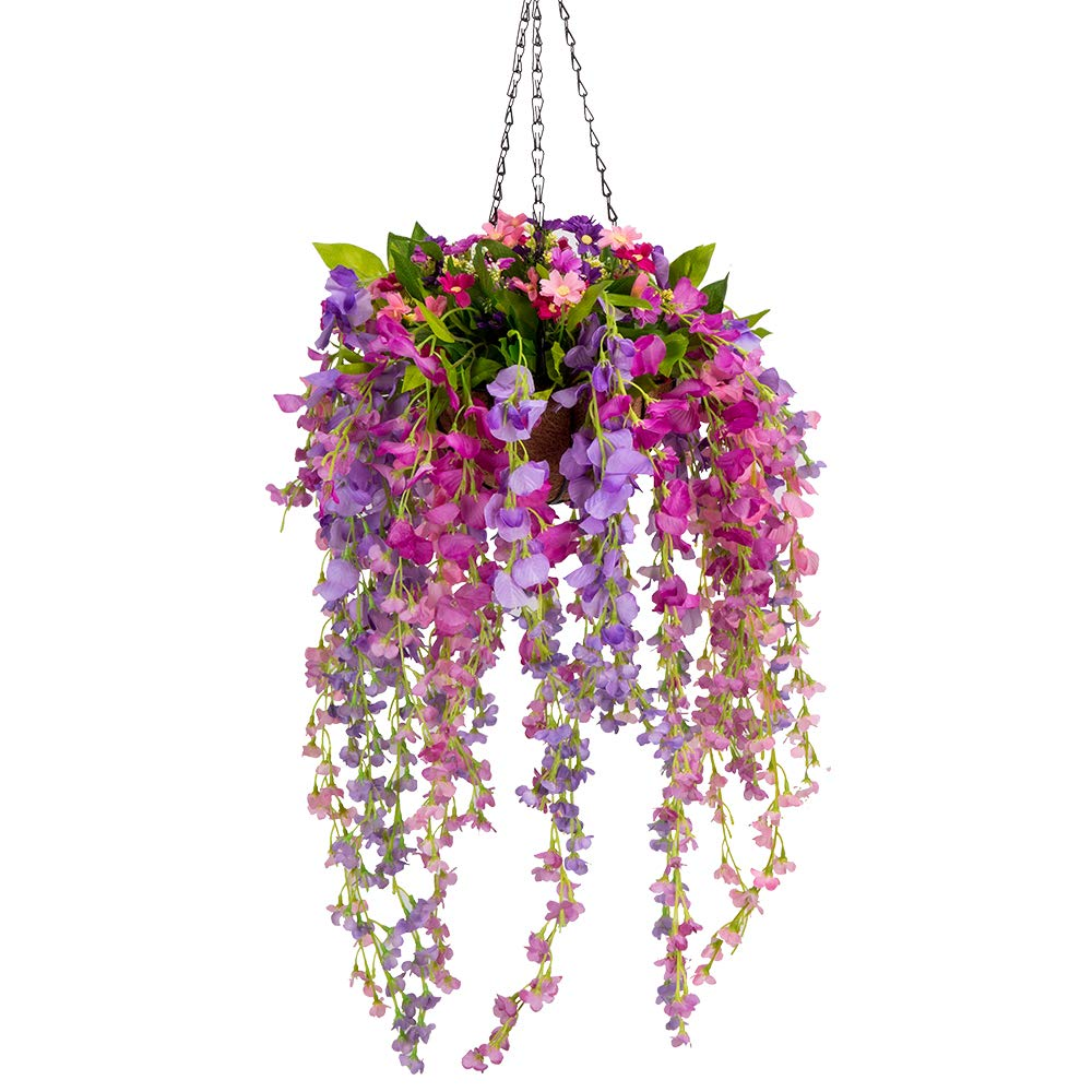 Mixiflor Artificial Wisteria Hanging Flower, Hanging Basket Silk Flower Wisteria Garland Vine for Home Outdoor Decoration by Mixiflor