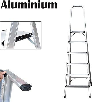 Escalera de 6 peldaños, escalera plegable de aluminio, portátil, con capacidad de 150 kg: Amazon.es: Bricolaje y herramientas