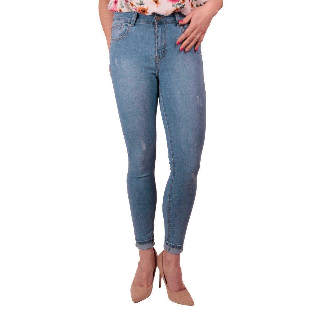 ef760e72249 Jean Femme Bleu Clair Skinny Stretch Taille Haute Effet Jean Skinny gainant-42   Amazon.fr  Vêtements et accessoires