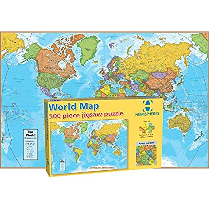 round world products world map puzzle 500 pieces