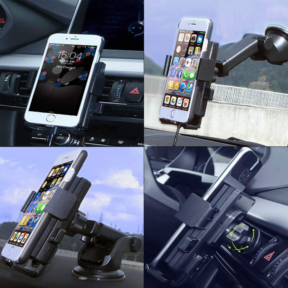 Wireless Car Chargers, 360 Degree Car Mount Charger Holder Windshield for iPhone X iPhone 7/8 iPhone 6plus,6s Plus,Samsung Galaxy S8/S7 Edge,Nexus Moto, LG, HTC ect Car Mount Fast Wireless Charger