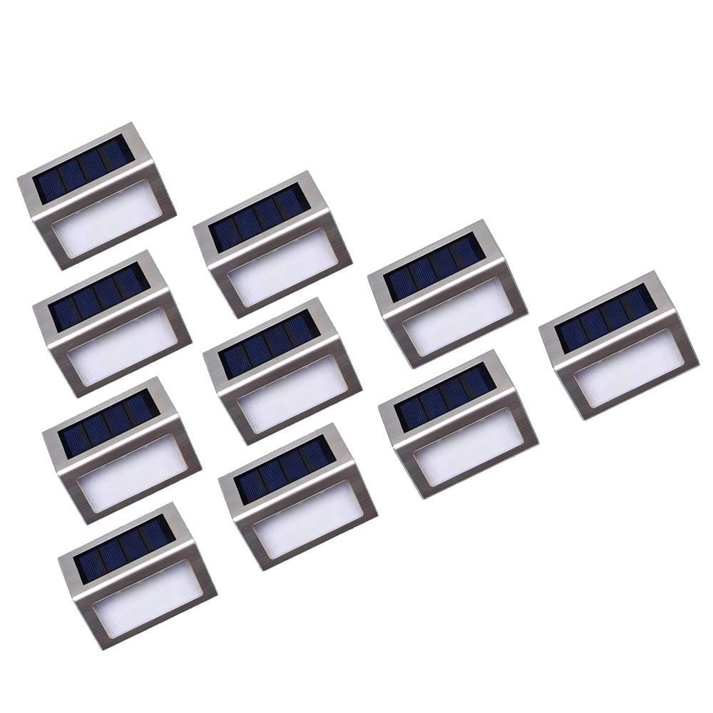 Solar Step Lights, MEIHONG LED Solar Powered Super Bright Weatherproof Outdoor Lighting for Steps Stairs Paths Patio Decks (10 Pack) by MEIHONG