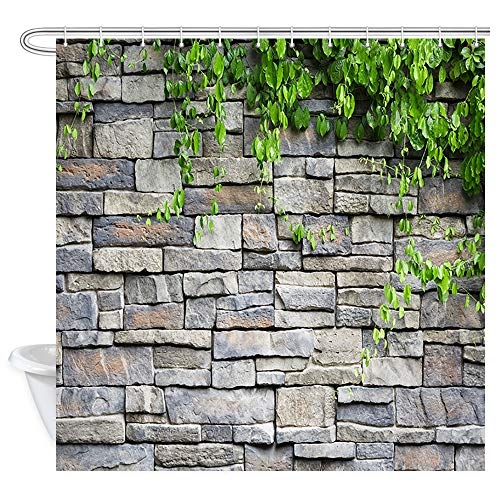 (NYMB Brick Wall Shower Curtain for Bathroom, Country Wallpaper Rustic White Stone Wall Green Garden Plant Leaves Shower Curtains, Waterproof Fabric Bath Curtains 12PCS Hooks Included, 69X70 in)