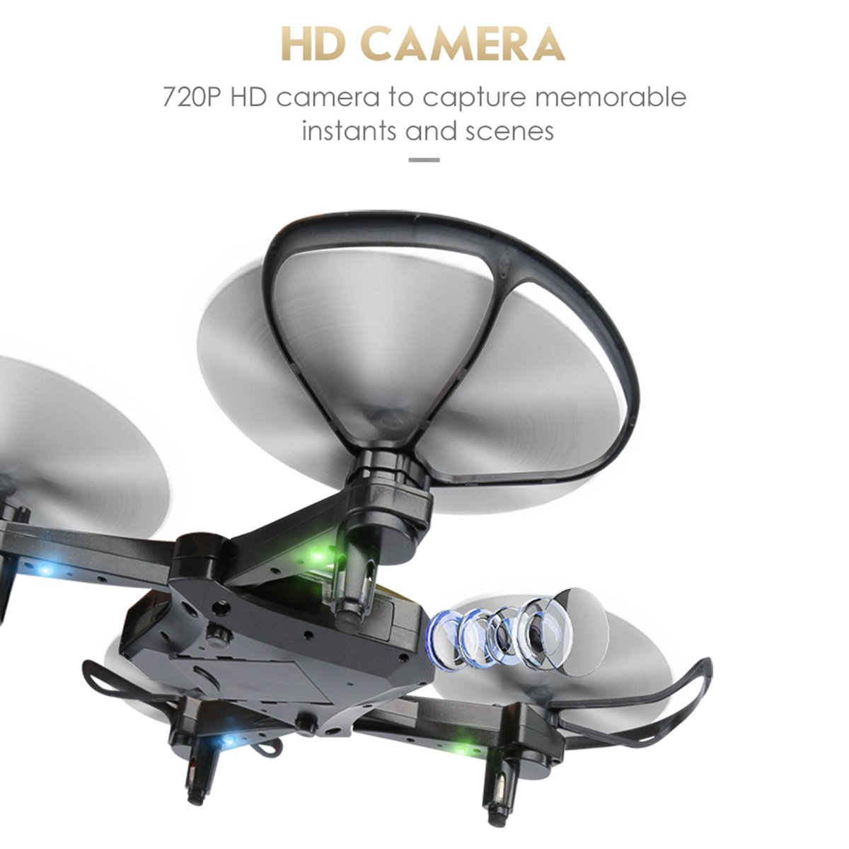 Lontect JJRC H44WH Diaman FPV RC Drone Foldable with 720P HD Wi-Fi Camera Live Video Feed 4CH 2.4GHz 6-Axis Gyro Quadcopter for Kids /& Beginners Black
