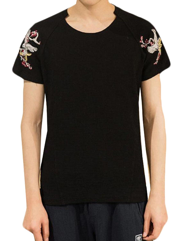 YUNY Men's Embroidery Short Sleeved CrewNeck Tops Shirts