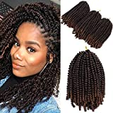 Mirra's Mirror 8inch 3packs Spring Twist Ombre Crochet Hair Curly Synthetic Natural Braids Braiding Hair Kinky Curl Hair Extension (8inch, T1B/30)