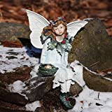 """Seated Christmas Holly Berry Outdoor Patio Garden Forest Fairy Figure 15"""""""